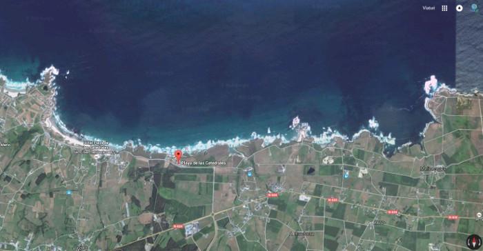 mapa playa catedrales ribadeo