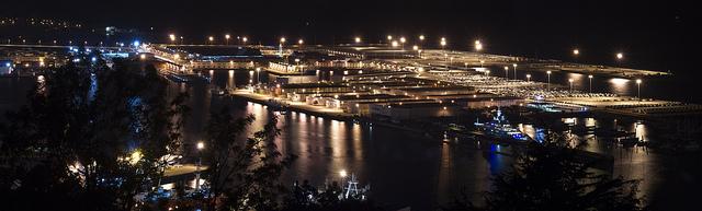 La noche en el puerto de Vigo.